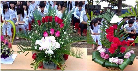 Cắm hoa thể hiện lòng biết ơn với thầy cô giáo