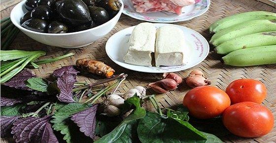 Nguyên liệu nấu canh ốc chuối đậu