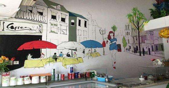 Mẫu 2_Trang trí tường quán trà sữa bằng mẫu vẽ bắt mắt