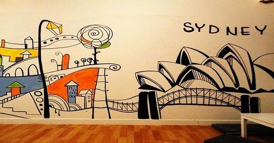 Mẫu 4_Cách trang trí quán trà sữa bằng tranh tường các quốc gia trên thế giới