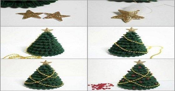 Cách làm cây thông noel bằng vải nỉ xanh
