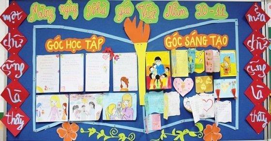 Mẫu bảng ghim 1_Trang trí lớp học ngày 20 - 11