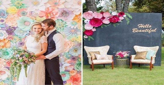 Hình ảnh trang trí sân khấu tiệc cưới bằng hoa giấy