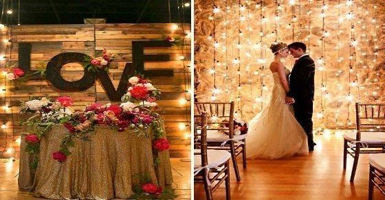 Đèn là vật dụng trang trí sân khấu tiệc cưới tại nhà tạo cảm giác lung linh, huyền ảo