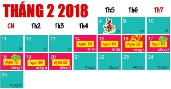 Lịch nghỉ tết nguyên đán 2018 chính thức
