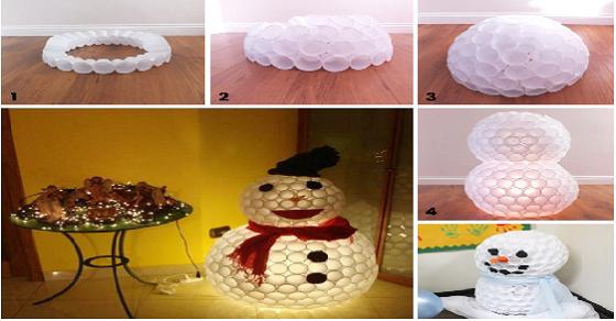 Người tuyết làm bằng cốc - một ý tưởng hay để trang trí giáng sinh