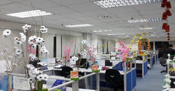 Hình ảnh trang trí tết nguyên đán trong văn phòng