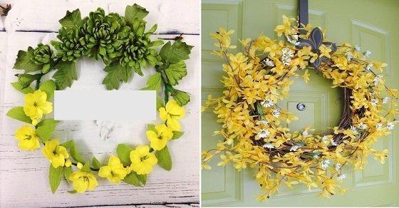Trang trí cửa kính bằng vòng nguyệt quế hoa mai