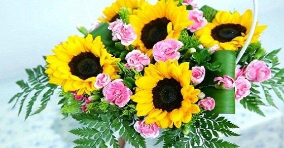 Giỏ hoa hướng dương nghệ thuật
