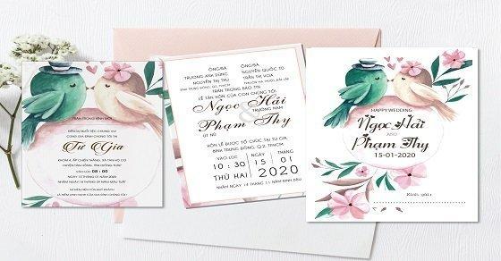 Mẫu thiệp cưới họa tiết hoa sắc màu ngọt ngào